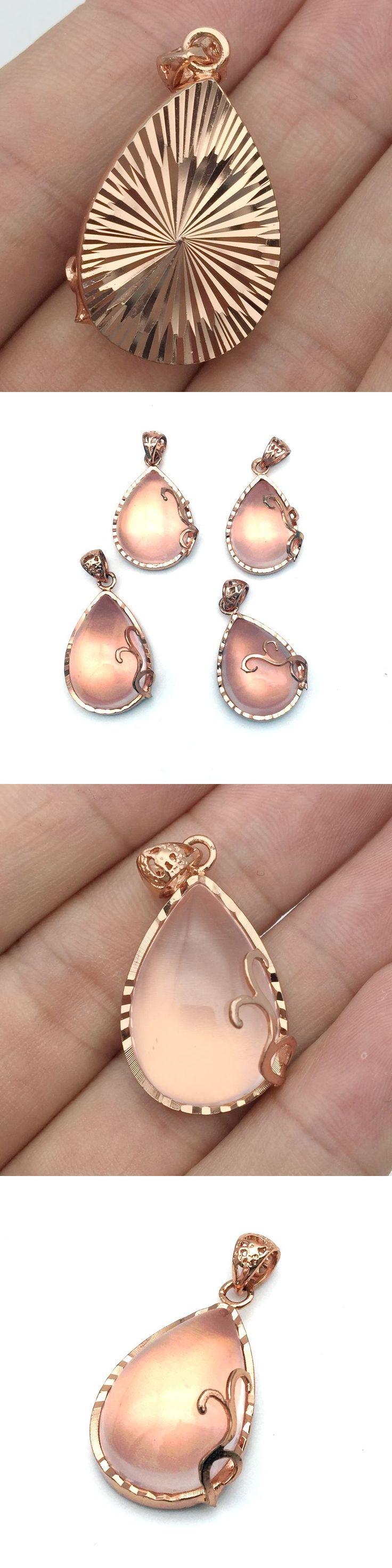 Natural Rose Pink Crystal Stone AA Quality Drop Pendant For DIY Necklace Gold Color Plated Shinning Pink Eye Light No Plastic
