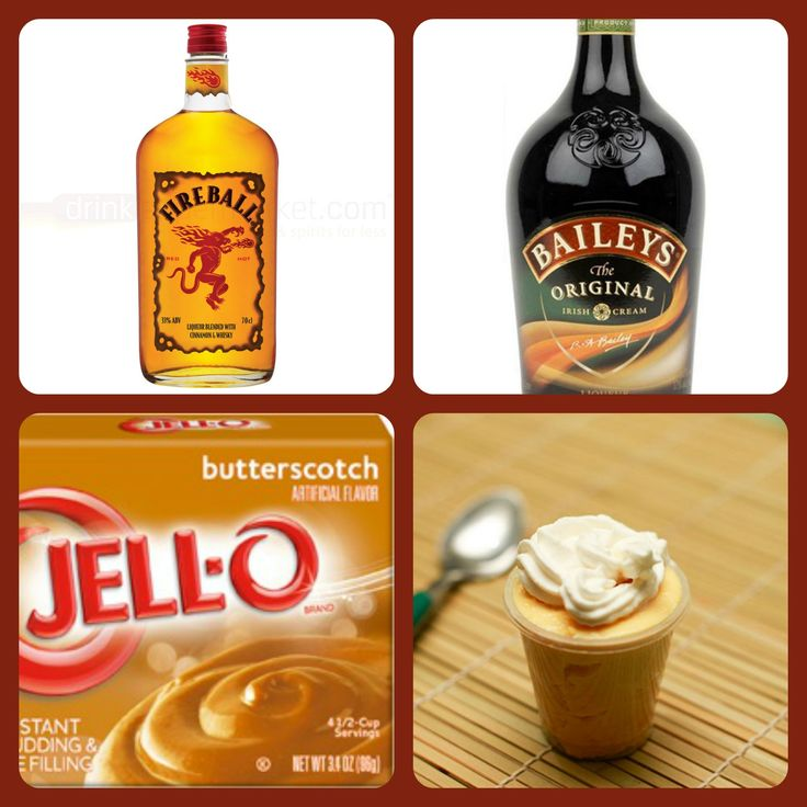 Baileys Comet Pudding Shots 1 small Pkg. butterscotch instant pudding ¾ Cup Milk 1/4 Cup Fireball Whiskey 1/2 Cup Baileys US 8oz tub Cool Whip  Directions 1. Whisk together the milk, liquor, and instant pudding mix in a bowl until combined. 2. Add cool whip a little at a time with whisk. 3.Spoon the pudding mixture into shot glasses, disposable 'party shot' cups or 1 or 2 ounce cups with lids. Place in freezer for at least 2 hours