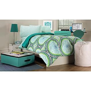 Essential Home 9-Piece Twin XL Dorm Room Bedding Set - Foral Medallion