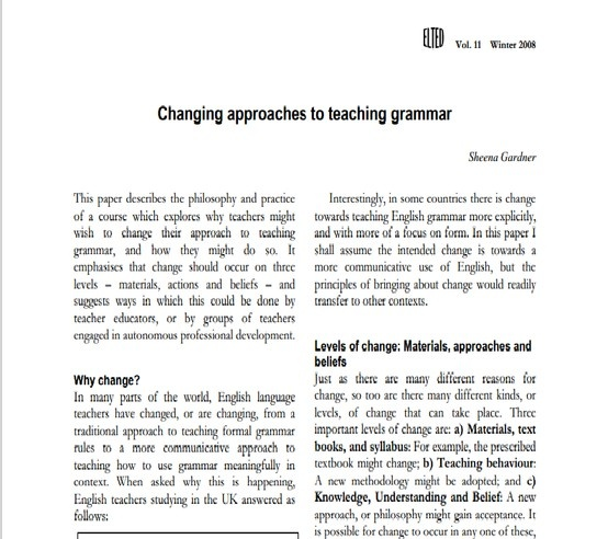 This article provides practical examples for approaching the teaching of grammar through genre- The contexts of narrative and cooking recipes are explored
