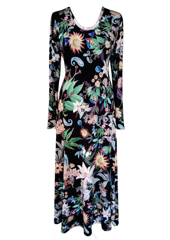 Floral Maxi Dres, Plus Size Dress, Cotton Maxi Dress, Dress With Sleeves, Flare ... 1