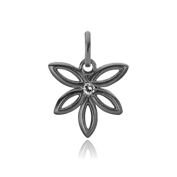 BLOSSOM pendant shaped like a flower with a single zirconia in the center in matt black sterling silver - Danish design jewelry by Izabel Camille. Price: EUR 30 No. A5076ssr www.izabelcamille.com