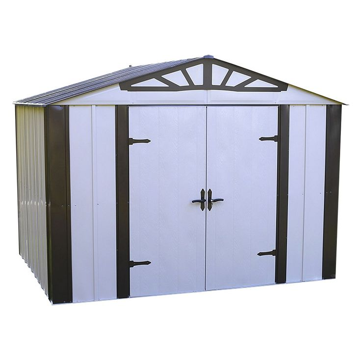 Designer Series Steel Storage Shed 10' X 8 - Arrow Storage Products, Eggshell