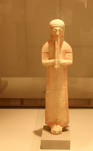 Cypriot Diauletes Diaulos player wearing a phorbeia. 6th BCE,from Cyprus Museo Baracco,Rome