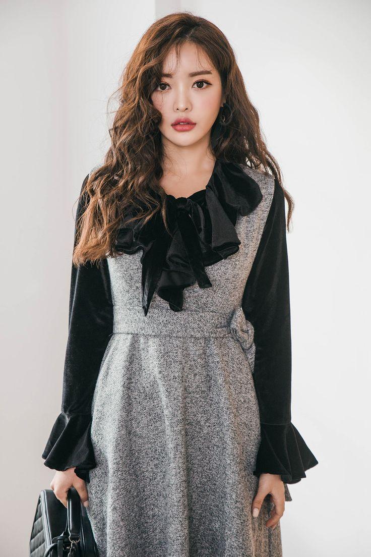 Velvety Trumpet Cuff Pullover Blouse CHLO.D.MANON   #black #ruffle #blouse #koreanfashion #kstyle #kfashion #winterlook