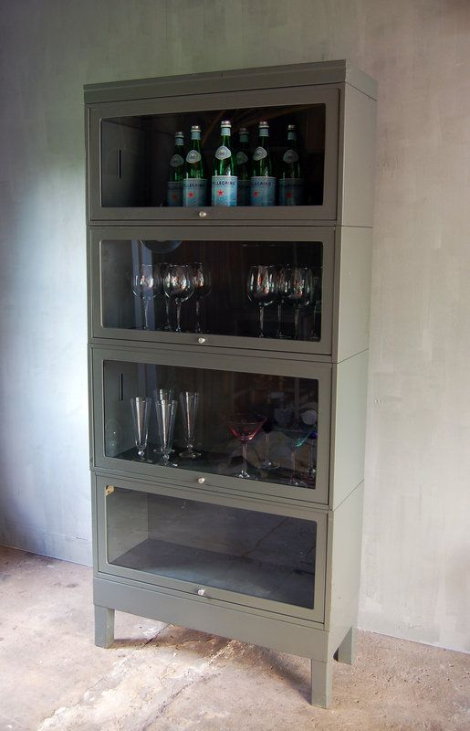gray steel barrister's bookcase (top and base cases only)
