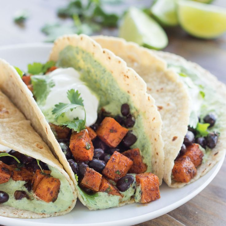 Chili-Roasted Sweet Potato and Black Bean Tacos with ...