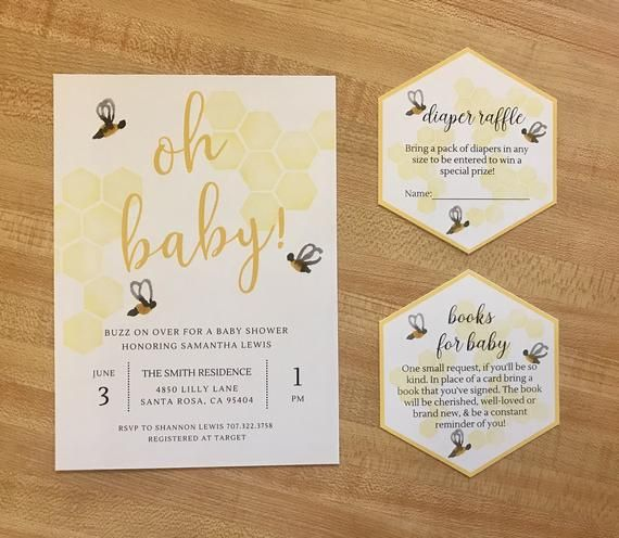 Baby Bee Baby shower Invitation Printable 5×7 & Book Request/Diaper Raffle Inserts