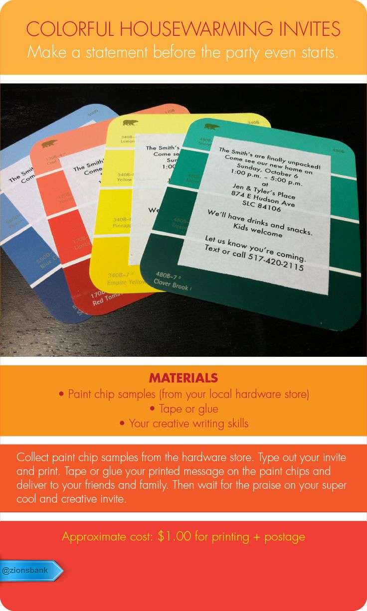 Use paint chips as a creative way to invite people to your next party. For a fun housewarming party.