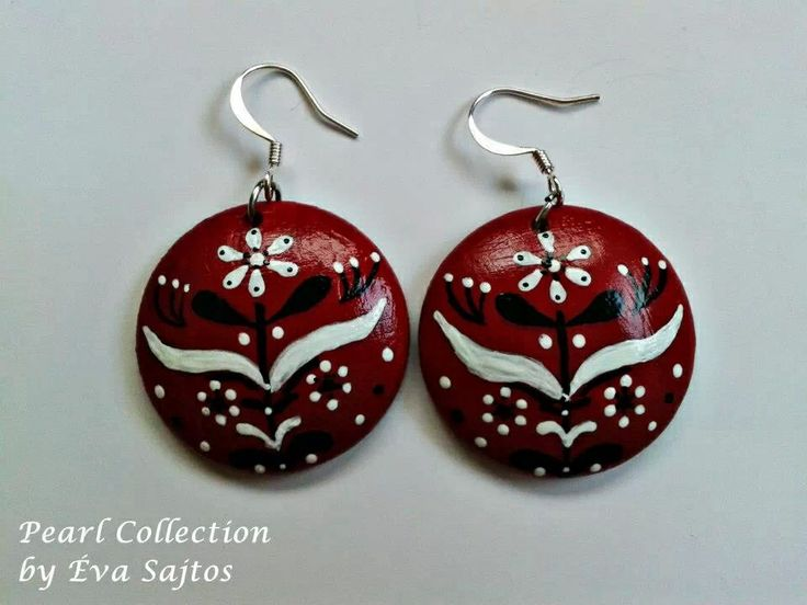 Red black and white handmade painted earings