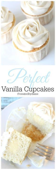 the most perfect vanilla filled cupcakes with Vanilla Italian Buttercream frosting /createdbydiane/