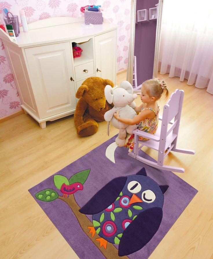 http://www.vloerkledenwinkel.nl/category/Modern-vloerkleed/product/Kids-Karpet-Arte-Espina-4049-48 Paars Vloerkleed met een uil. Kinderkamer