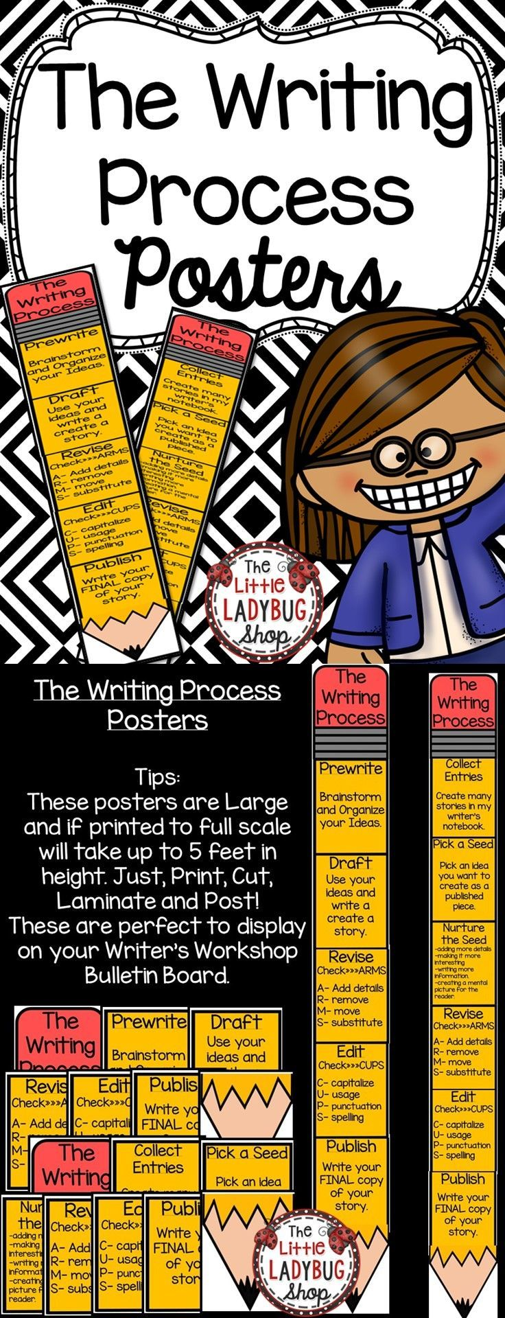 Writing Process | Writing Process | Writing Process  Writing Process Pencil Posters. 2 Sets of the Writing Process Posters are included in this set for you to display in your classroom. I used these charts and used clothes pins with students names to move down the chart as they were writing in the Writing Process. We used 2 different charts and I am attaching both here for you to decide which works for your classroom setting.