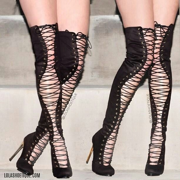 Lace up thigh high boots love them | Fashions | Pinterest | High ...