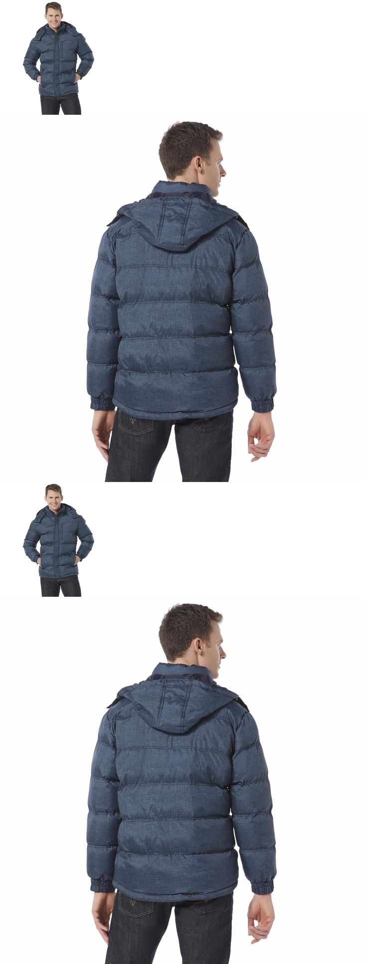 Men Coats And Jackets: Mens Puffer Coat Hooded Jacket Winter Snow Warm Bubble Large Xl Size Zip New BUY IT NOW ONLY: $49.95