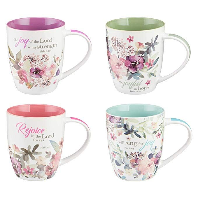 Christian Art Gifts Ceramic CoffeeTea Mug Set for Women | Rejoice Watercolor Flowers Design Bible Verse Mug Set | Boxed Set4 Coffee Cups