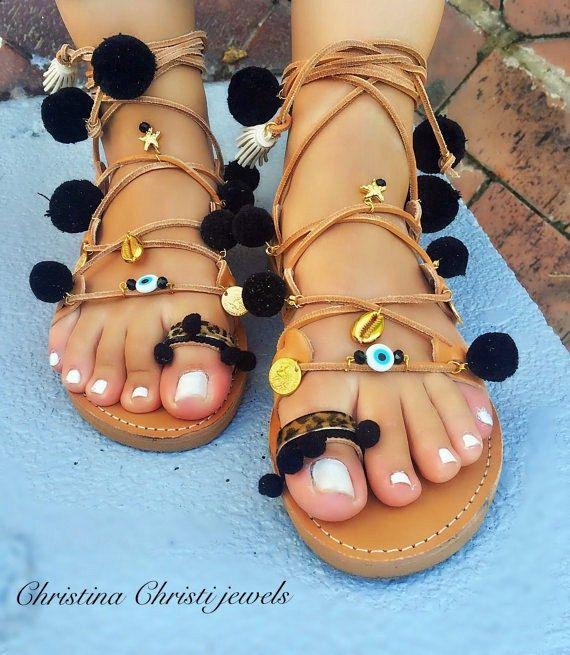 Boho Sandals Black Pom Pom Sandals Lace Up by ChristinaChristiJls