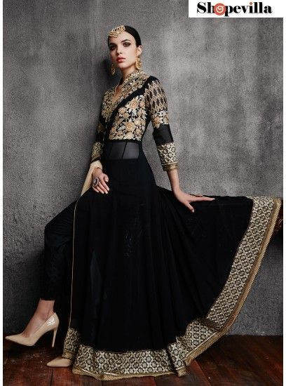 Dashing Black Georgette With Embroidered Pant Style Anarkali Suit-11003-E