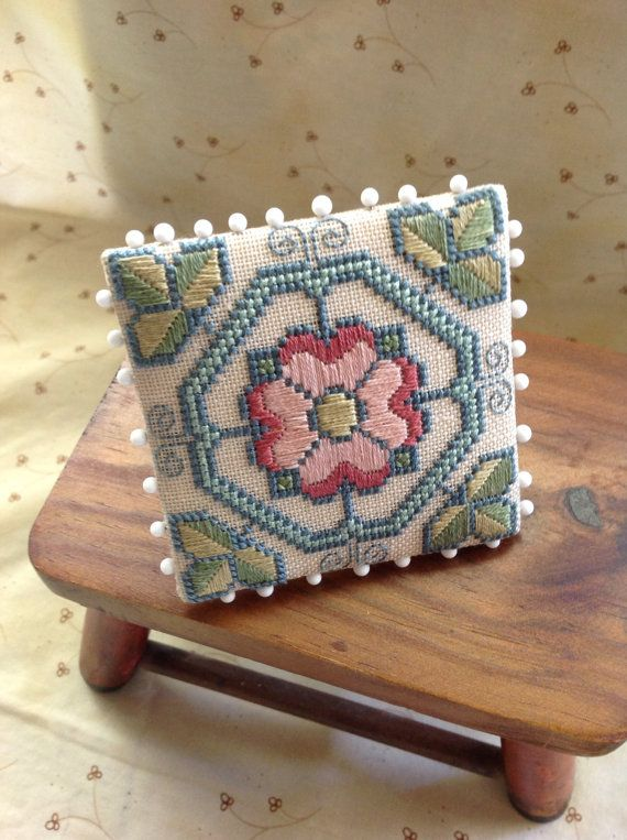 Hand Stitched Tudor Rose Pin Keep / pinning for display idea