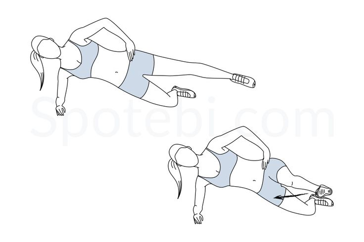 While doing the side plank front kick keep your upper body stable by engaging your core and maintain your top leg straight and at hip height. Flex your foot and breathe out as you slowly kick to the front. http://www.spotebi.com/exercise-guide/side-plank-front-kick/
