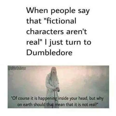 Dumbledore is always right. Fictional characters are real.