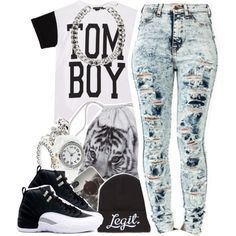 nice swag outfits for girls with jordans polyvore - Google Search...