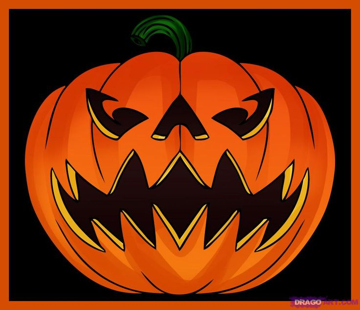 How to draw a jack o lantern step by step halloween Awesome pumpkin drawings