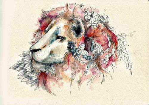 Beautiful lion for Steve. It has reds and blacks in it. Probably leave the flowers out though. A bit too girly.