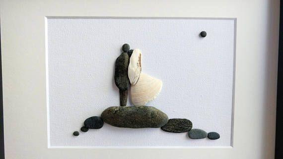 Unframed 8 by 10 wedding pebble art wedding present
