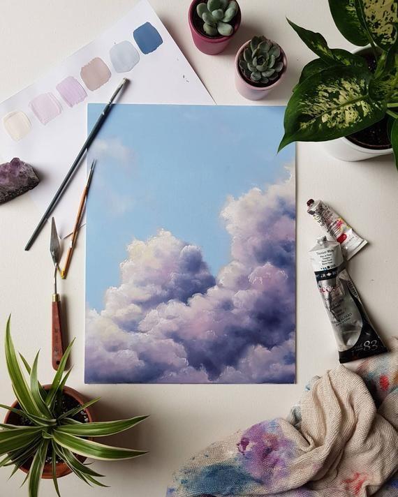 Cloud scape, landscape art, sky shape art, oil painting, original ...
