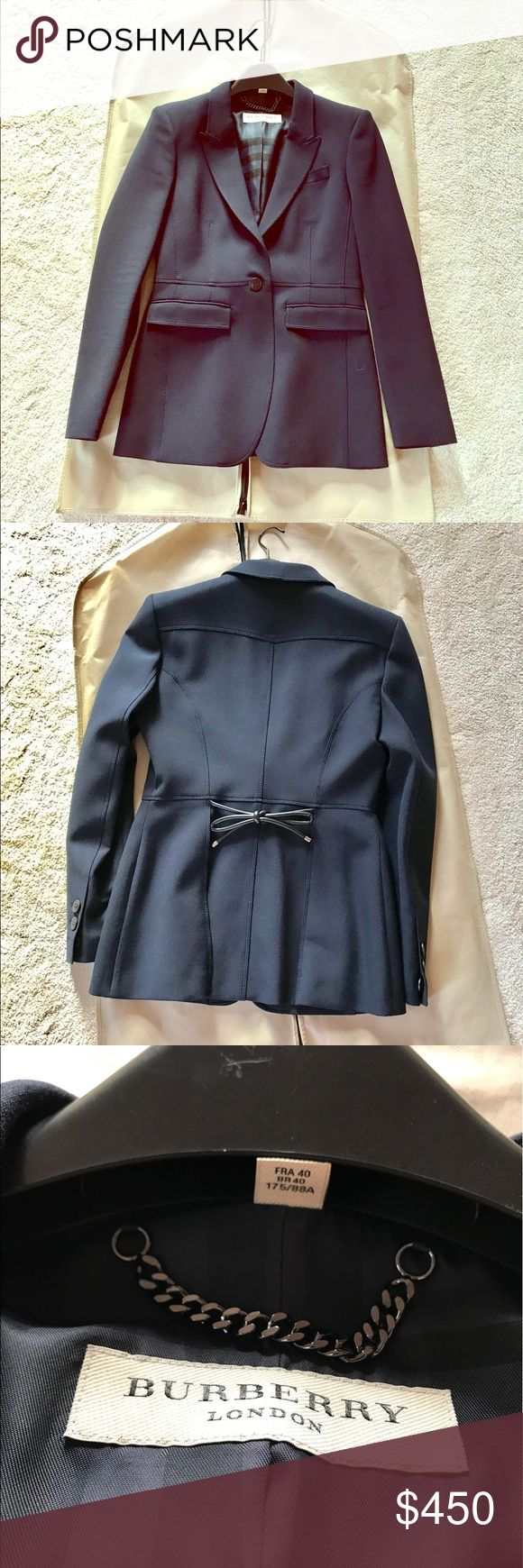 Burberry Bow Tie waist blazer Very stylish and good quality! Really love it when I was slimmer!! Took very good of it, storage in dust bag carefully! You can wearing either in formal or casual! Perfect looking! It's black but kinda navy. Burberry Jackets & Coats Blazers