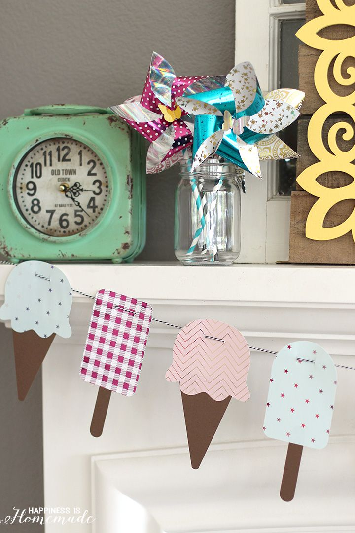 Metallic Foil Ice Cream & Popsicle Banner for Summer using the Minc machine by @HeidiSwapp #HSMinc #FoilAllTheThings [ad]