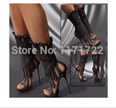 Novas mulheres chegada fino salto alto plataforma sandália botas moda plataforma do dedo do pé aberto tiras sexy gladiador verão das mulheres meados de bezerro botas