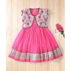 Twisha Fashionable Embroidered Jacket With Net Dress - Hot Pink