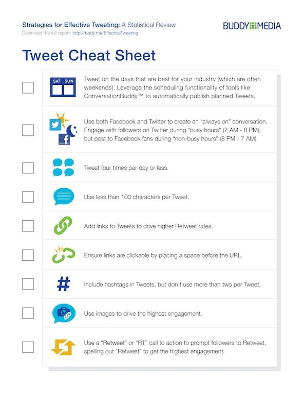 Tweet cheat sheet 11 Effective Twitter Strategies for Brands. #twitter #consumer #engagement