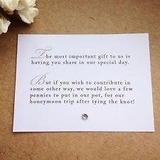 5 x Wedding Poem Cards For Invitations - Money Cash Gift Honeymoon