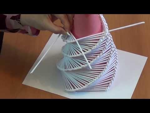 Новогодняя ёлка сувенир из бумажных трубочек - YouTube