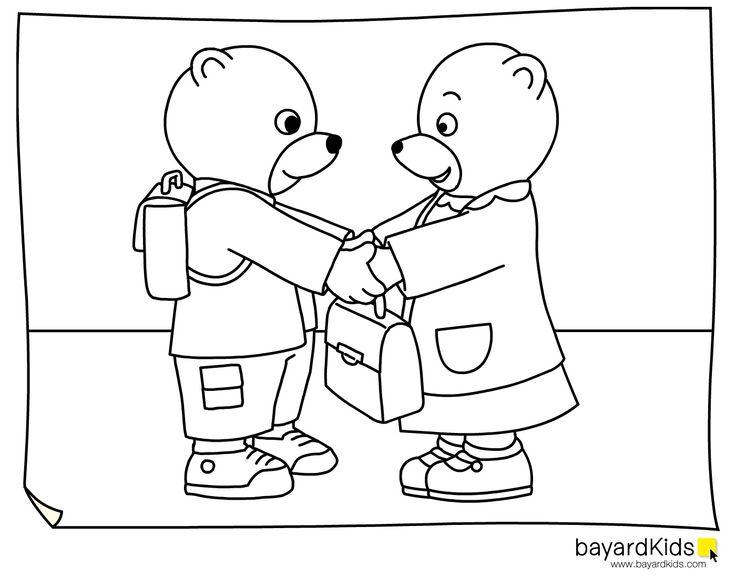 Coloriage petit ours brun rentre a l 39 cole a colorier - Dessiner un ours en maternelle ...