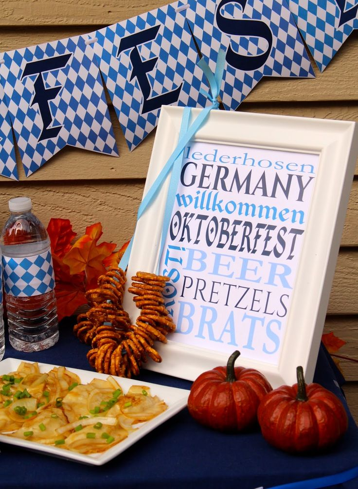 Oktoberfest Party Decor with FREE subway art printable.  Octoberfest Party Decorations, Banners, Signs, Water Bottle Labels. German Beer Festival Party Ideas