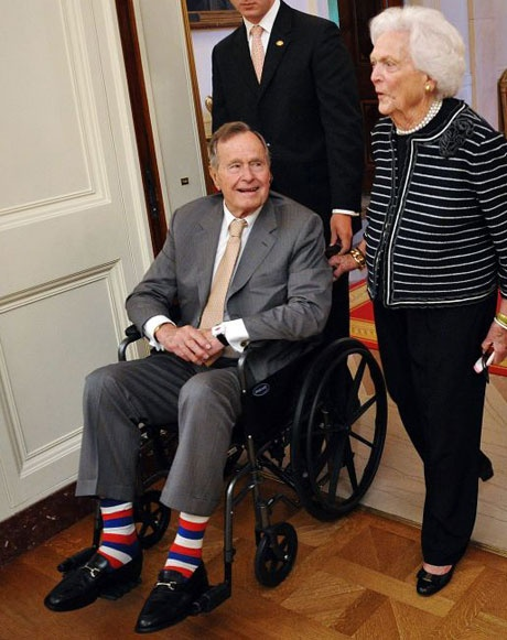 Not a big fan of former president George HW Bush, but if you're almost 90, and you want to wear stripy socks with your nice suit to a White House ceremony, go for it, man.