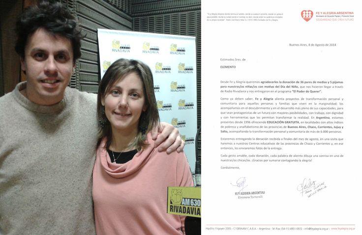 Elemento + Radio Rivadavia  Junto a Radio Rivadavia estuvimos presntes para darle felicidad a los niños de la fundacion Fé y Alegría!!