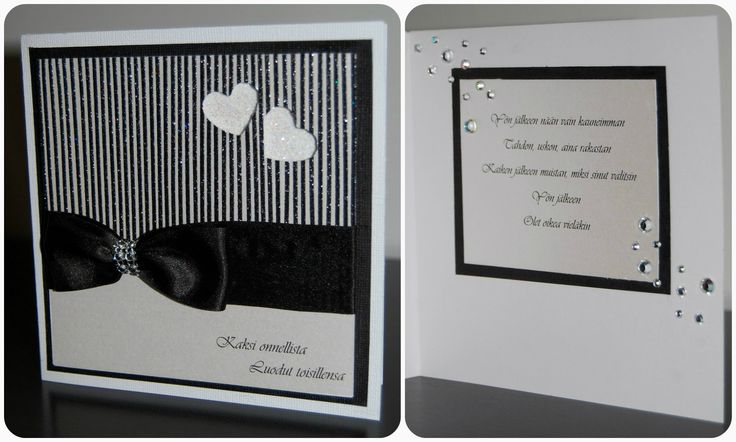 Itsetehty mustavalkoinen hääkortti / A handmade black and white wedding card with some glitter