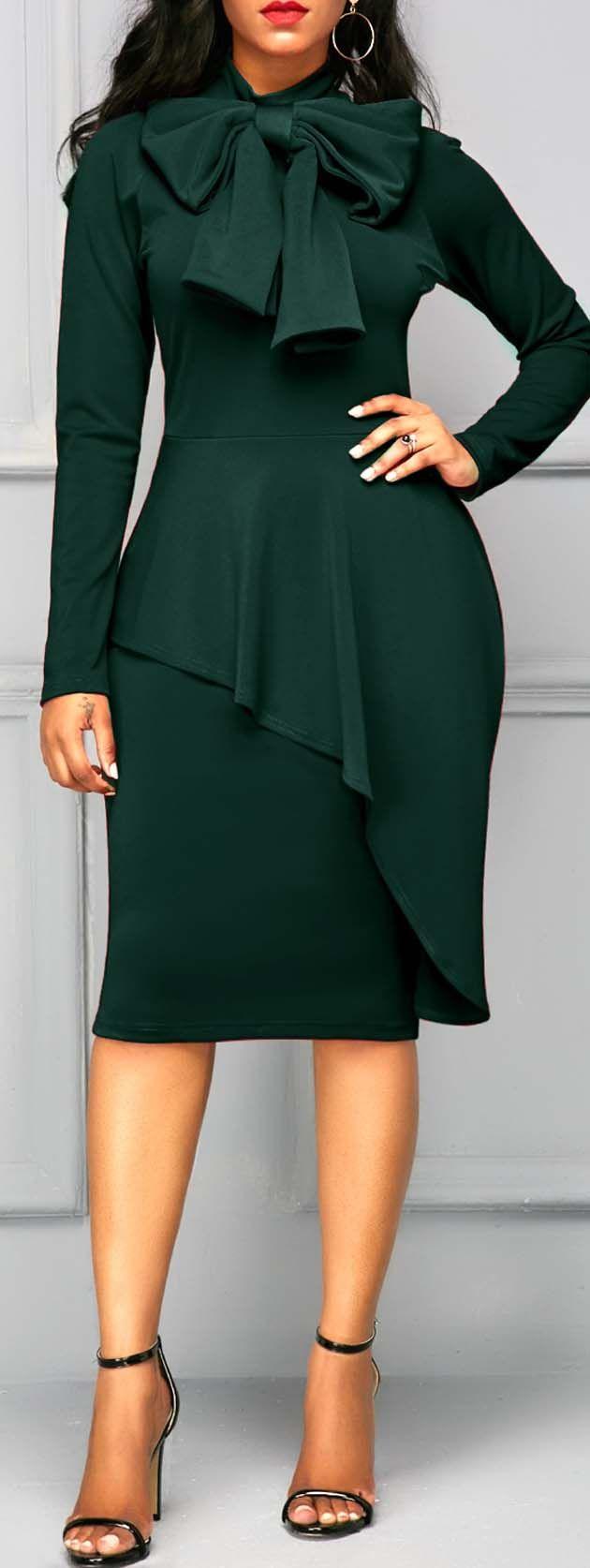 Dark Green Tie Neck Peplum Waist Dress, party, simi formal dress, cute dress, cute dresses, modest dress, modest dresses.