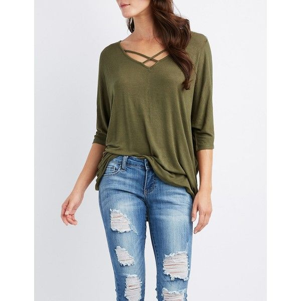 Charlotte Russe Strappy Zip-Back Dolman Tee ($15) ❤ liked on Polyvore featuring tops, t-shirts, olive, dolman tops, dolman sleeve t shirt, knit top, olive t shirt and brown t shirt