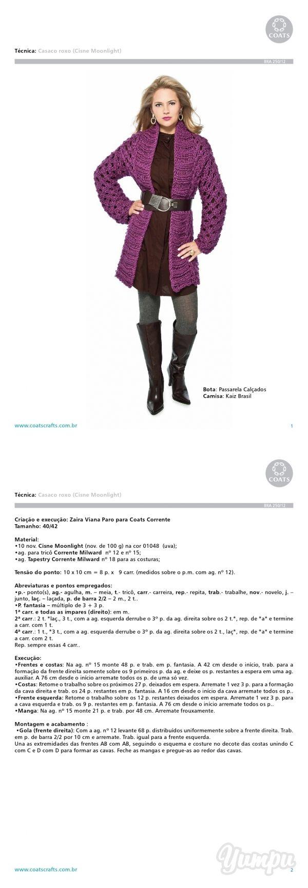www.coatscrafts.com.br Técnica: Casaco roxo (Cisne Moonlight ... - Magazine with 3 pages: www.coatscrafts.com.br Técnica: Casaco roxo (Cisne Moonlight ...