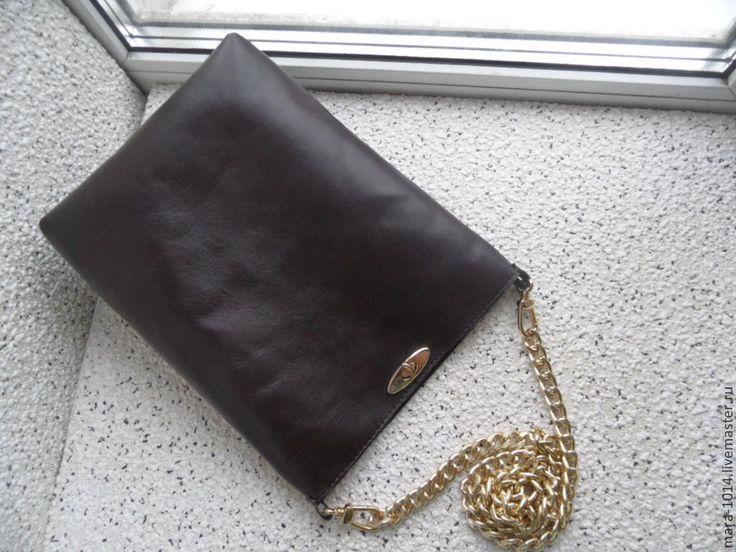 Купить BROWN SILK- кожаная сумочка на плечо - коричневый, коричневый цвет, коричневая сумка