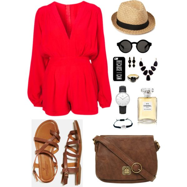 ROMWE V-neck Pleated Red Playsuit