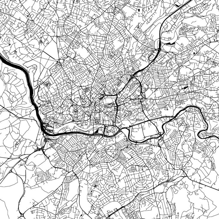 Bristol Downtown Vector Map Monochrome Artprint, Outline Version for Infographic Background, Black Streets and Waterways... ... #vector #map #download #vector #infographic #background #landmarks #stockimage #design #hebstreit