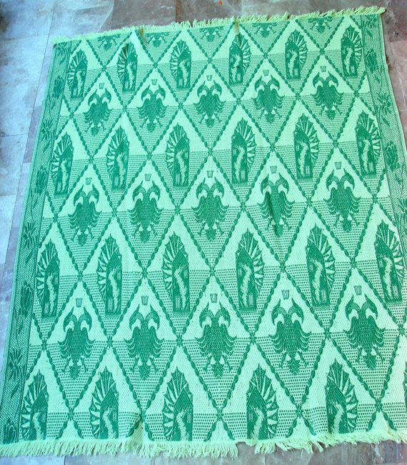 """Royal Griffins"" Vintage Bedspread Throw  by #VintageHomeStories #Bedroom #Living #Room #Home #Decor #Cotton #Bedspread #children #Throw #Greens #tablecloth #cottage #country #house #summer"