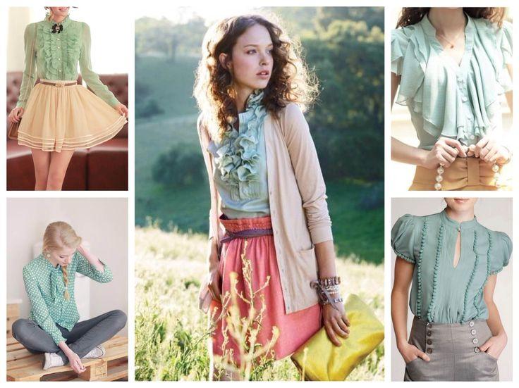 Мятные блузки : с чем носить блузу мятного цвета в 2017.